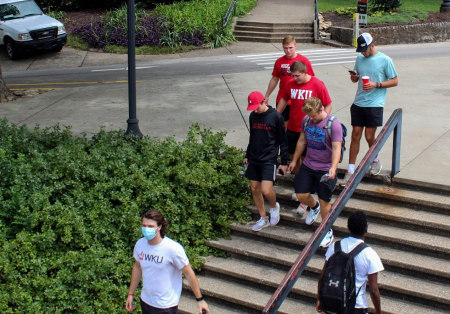 Students head back their residence halls after lunch on Friday, Sept. 4, 2020. The majority of campus food options are still open while implementing social distancing protocols in an effort to slow the spread of COVID-19.