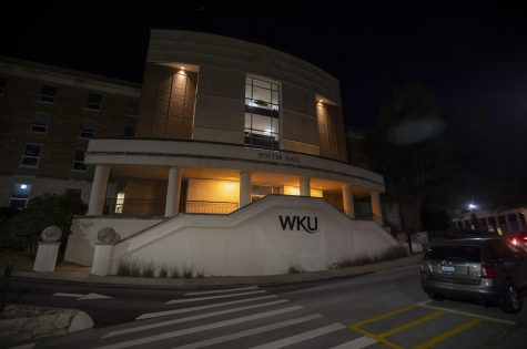 Potter Hall, home to Western Kentucky University's Counseling Center, its presumably empty on Wednesday night, Sep. 9, 2020, in Bowling Green, Ky.