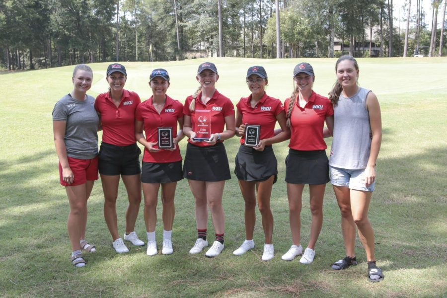 Pictured left to right. Senior Olivia Reed, graduate Mary Joiner, redshirt senior Teri Doss, senior Megan Clarke, freshman Rylea Marcum, freshman Rachel Rich, and sophomore Sarah Arnold pose following the first tournament the Lady Toppers have played in since COVID-19 pandemic began.