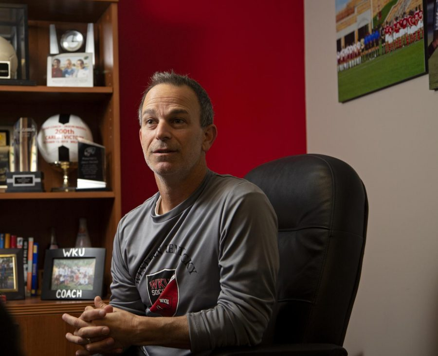 """Jason Neidell is entering his 20th season as the head coach of the women's soccer team at WKU. Neidell transitioned from playing soccer growing up, to teaching the game. """"I had goals and dreams of being a professional player when I was growing up in elementary school, high school, but I never thought about coaching,"""" Neidell said."""