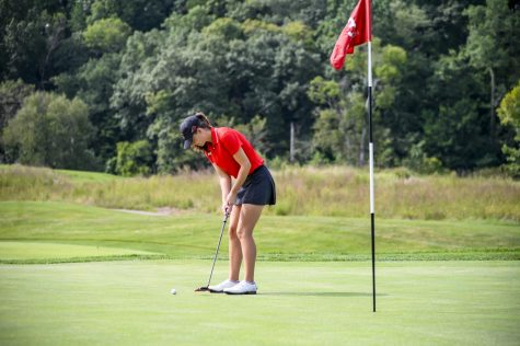 Western Kentucky Hilltoppers women's golfer Sarah Arnold plays a practice round at Olde Stone Country Club.