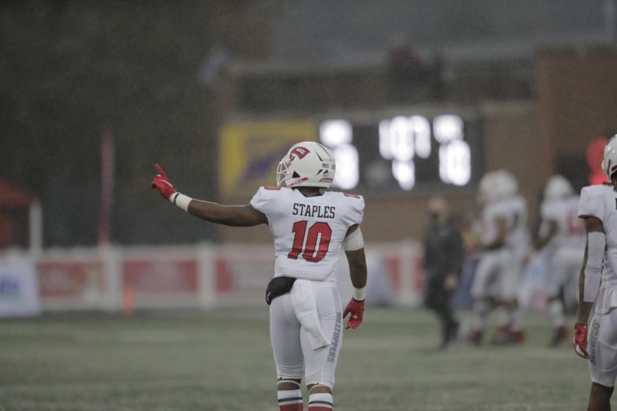WKU running back Malik Staples (10) waves his finger at the UTC sideline following a UTC called back touchdown.