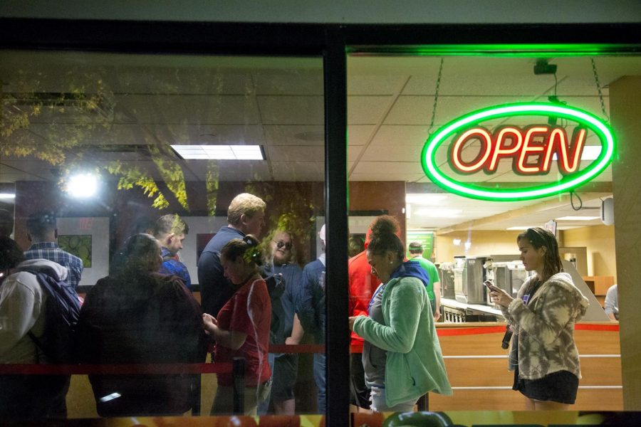 Students wait in line in Subway at Bates Runner Hall on Nov. 7, 2017.
