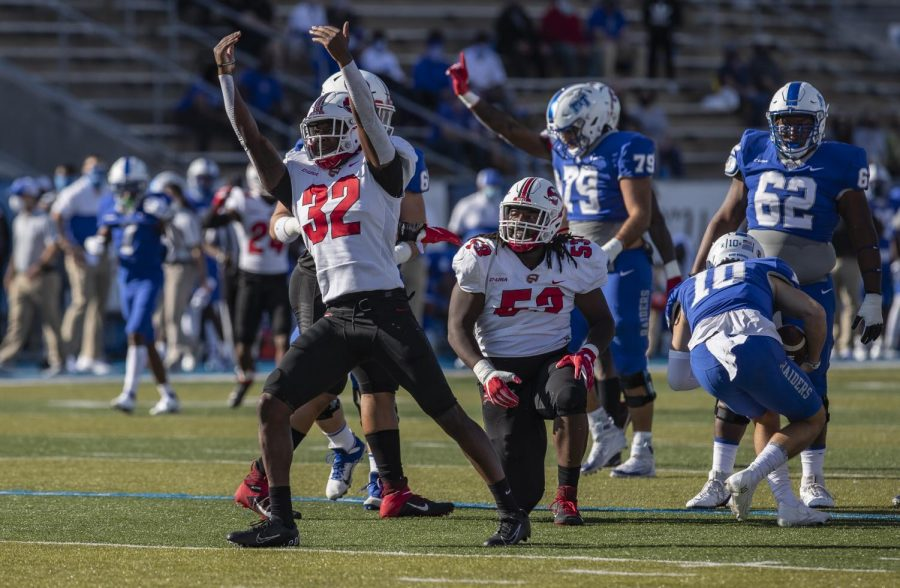 Graduate linebacker Eli Brown celebrates following a sack on MTSUs quarterback Asher OHara.