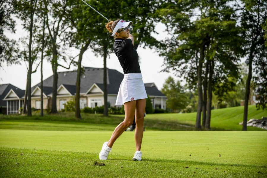 Freshman Rylea Marcum playing a round at Olde Stone Country Club.