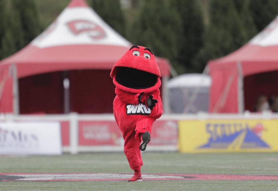 WKU Mascot Big Red runs inside Houchens-Smith Stadium Oct. 24, 2020.