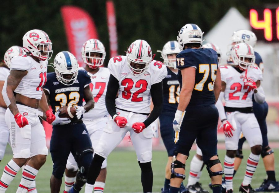 WKU+graduate+linebacker+Eli+Brown+%2832%29+celebrates+a+tackle+against+UTC+on+Oct.+24%2C+2020.+The+Hilltoppers+would+go+on+to+win+13-10+over+the+Mocs.%C2%A0