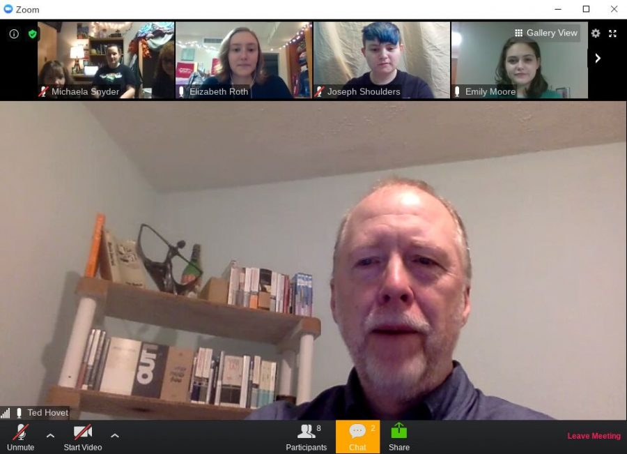 Dr. Ted Hovet speaks to students at the English Salon via Zoom on Oct. 21, 2020.