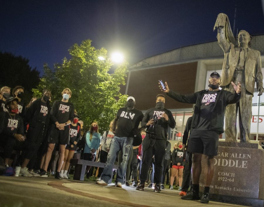 WKU football player Mario Wright speaks to start the protest organized by the Student Athlete Advisory Council for the Black Lives Matters movement on Sept. 30, 2020.