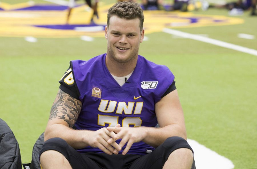 UNI's Spencer Brown is interviewed during media day at the UNI Dome on last August.