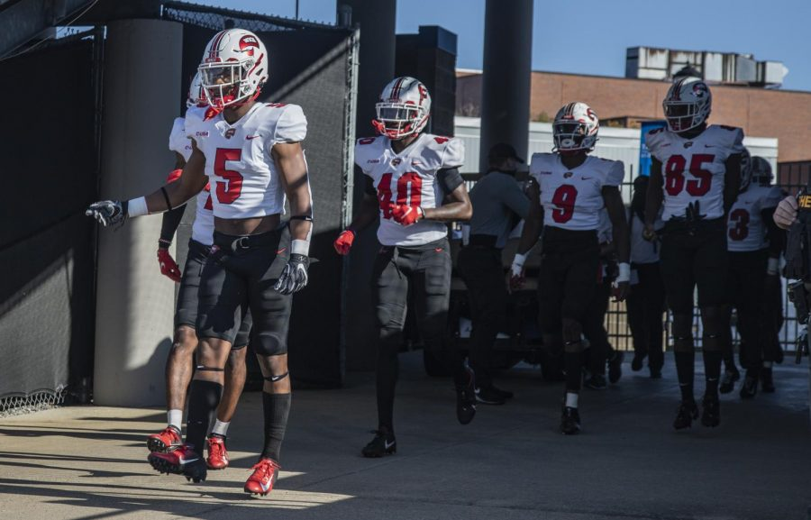 WKU heads out onto the field in Murfreesboro, Tennessee for a matchup against Middle Tennessee State University on Oct. 3.