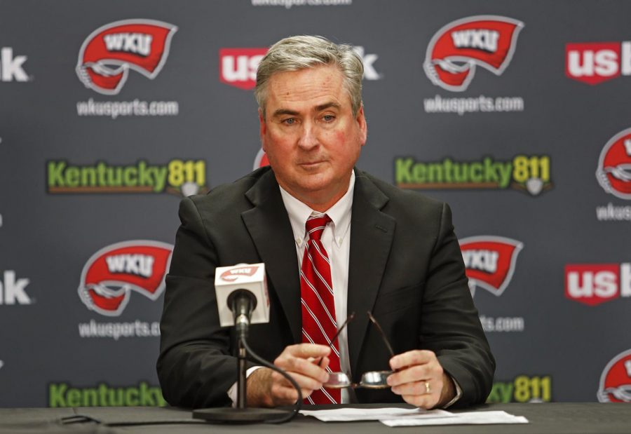 WKU+coach+Rick+Stansbury+answers+questions+during+the+postgame+press+conference+after+the+game+against+Tennessee+Tech+on+Tuesday%2C+Nov.+5%2C+2019.+The+Hilltoppers+defeated+the+Golden+Eagles+76-64.