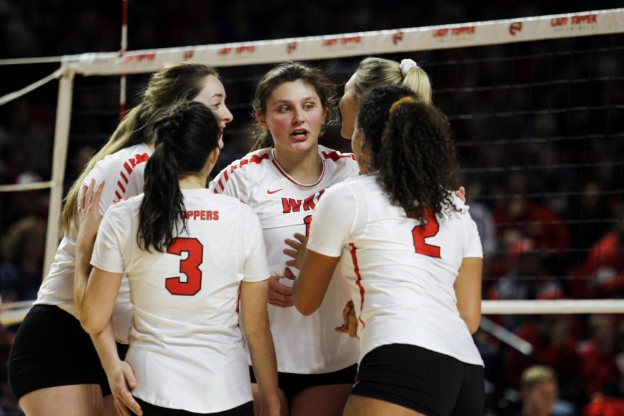 WKU freshman outside hitter Paige Briggs communicates with her teammates during the volleyball team' match against Kennesaw State in the first round of the NCAA tournament in Diddle Arena on December 5, 2019. WKU swept the Owls 3-0.