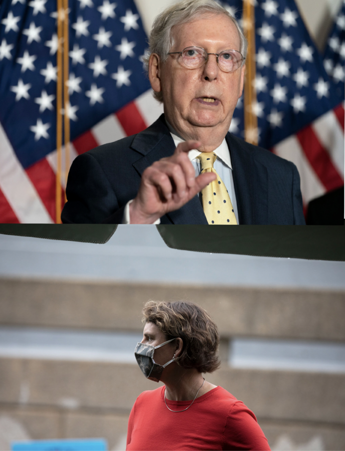 Photo of Mitch McConnell and Amy McGrath.