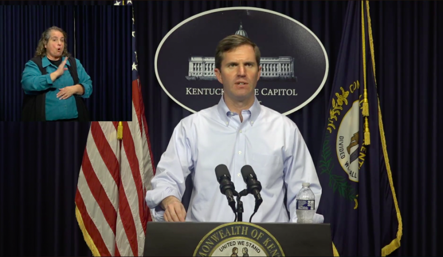 Kentucky Gov. Andy Beshear gives a daily update on the coronavirus situation in the state on March 18, 2020. The update is available live on Facebook and Youtube.