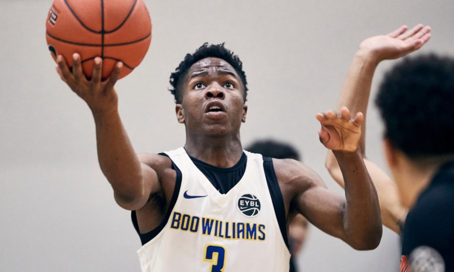 INDIANAPOLIS, IN- Saturday, May 11, 2019: Zion Harmon 2021 #3 of Boo Williams 17U attacks the rim at the Nike Elite Youth Basketball League (EYBL) session 2 at Pacers Athletic Center in Westfield, IN.