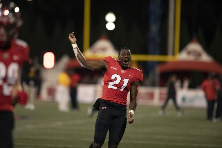 Jeremiah Fails (21) celebrates a win on Nov. 14, 2020 over Southern Miss. The Hilltoppers defeated the visiting Golden Eagles 10-7.