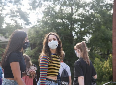 A socially-distanced parade of new students wandered WKU's campus Saturday, August 22. WKU students are adjusting to the new campus rules according to WKU's restart plan, including the requirement of masks in all shared public spaces on campus.