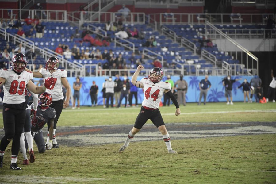 Redshirt sophomore kicker Brayden Narveson celebrates a field goal at Florida Atlantic. The Hilltoppers fell to the Owls 10-6 in Boca Raton, Florida on Nov. 7, 2020.