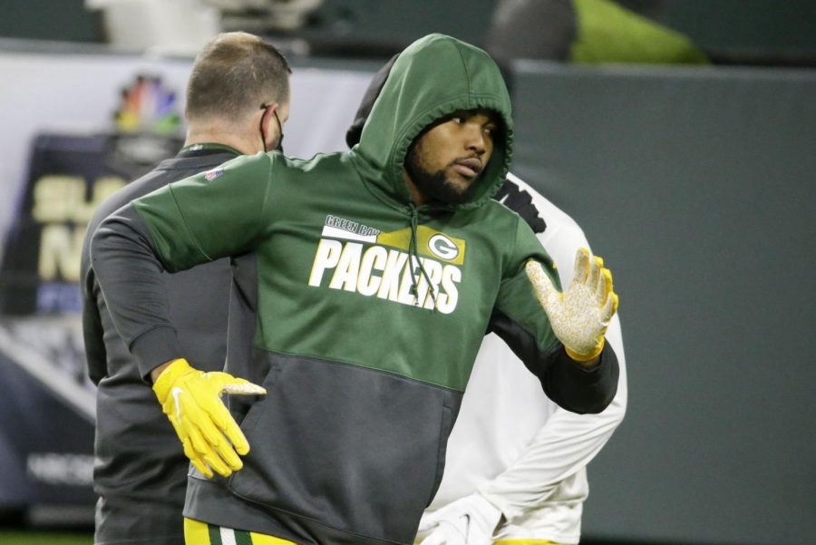 Green+Bay+Packers%27+Rashan+Gary+warms+up+before+an+NFL+football+game+against+the+Chicago+Bears+Sunday%2C+Nov.+29%2C+2020%2C+in+Green+Bay.