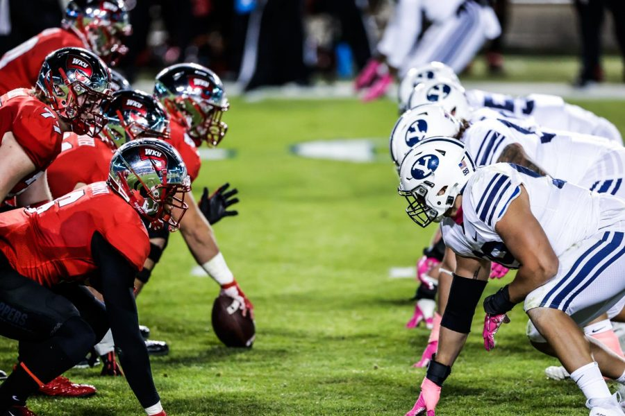 WKU and BYU lines up at line of scrimmage in second quarter. BYU played Western Kentucky at LaVell Edwards Stadium in Provo, Utah on Oct. 31, 2020.