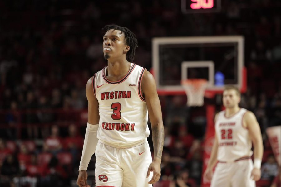 WKU freshman guard Jordan Rawls (3) chews on his mouthguard during the men's basketball game against the Charlotte 49ers on Saturday, Feb. 22, 2020. The Hilltoppers were defeated 72-70.