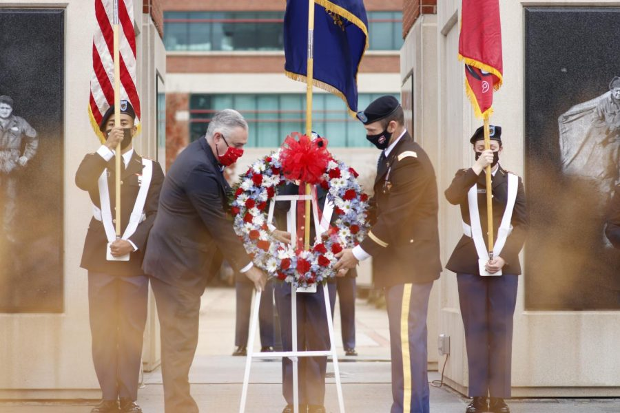 Veterans Day was observed at WKU's Guthrie Tower on November 11, 2020.
