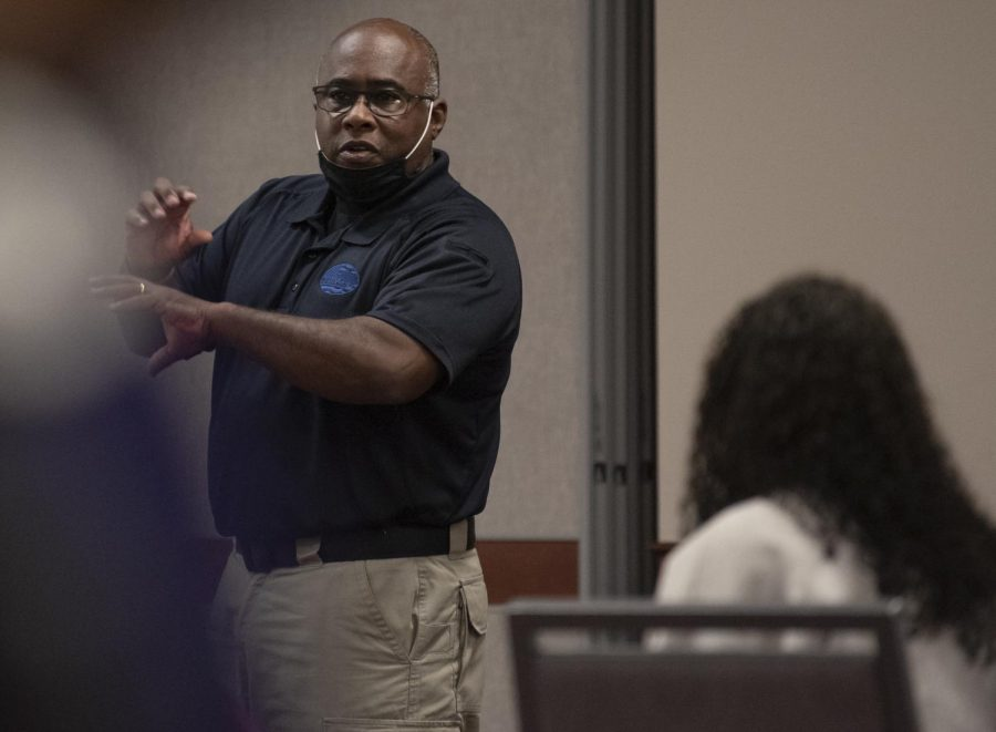 Mitch Walker, chief of the WKU Police Department, speaks to students at a self defense class on Thursday, November 5, 2020, in Downing Student Union.