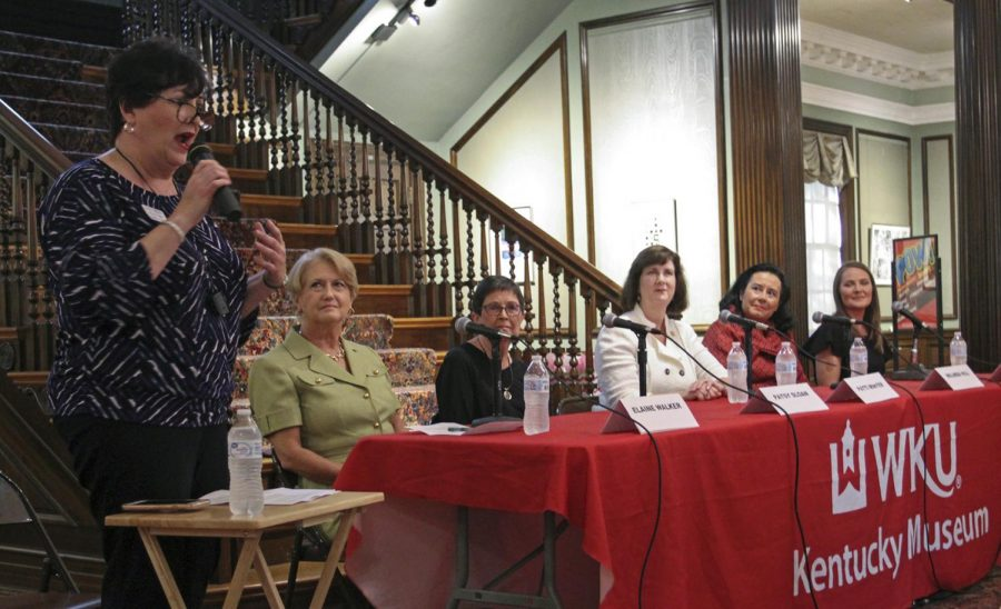 Put a Woman in Charge panel speakers Dana Beasley-Brown, Patti Minter, Elaine Walker, Melinda Hill, and Patsy Sloan prepare to speak during the event in the Kentucky Museum on Tuesday, Sept. 24.