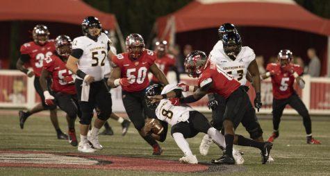 WKU senior defensive end, DeAngelo Malone (10) broke the WKU football program sack record on Nov. 14, 2020. WKU defeated Southern Mississippi 10-7.