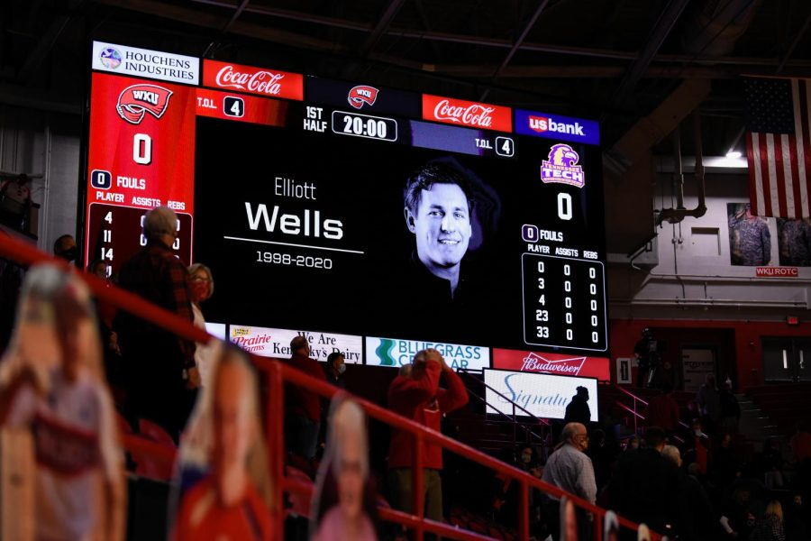 WKU Athletics honored the passing of Elliott Wells, an employee of Athletics and a former Herald staffer, during the Dec. 22 game against Tennessee Tech.