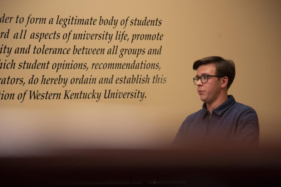 Executive Vice President Garrett Edmonds spoke about the upcoming Rally for Higher Education in Tuesday's SGA meeting.