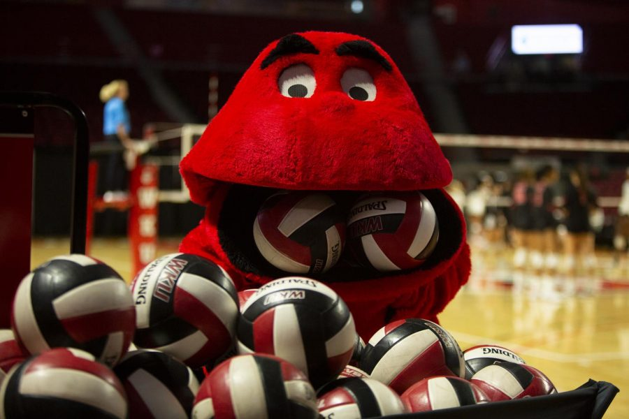 Big Red eats volleyballs in Diddle Arena on October 6, 2019.