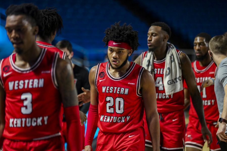 WKU freshman Dayvion McKnight makes his way over to the Hilltopper sideline during their game at MTSU on Jan. 24, 2021. McKnight was held scoreless in game two on Sunday.