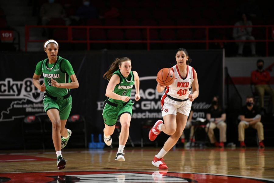 Junior Meral Abdelgawad (40) driving up the court against Marshall in Diddle Arena. The Lady Toppers split their series with the Lady Thundering Herd winning 69-60 on Jan. 17, 2021.