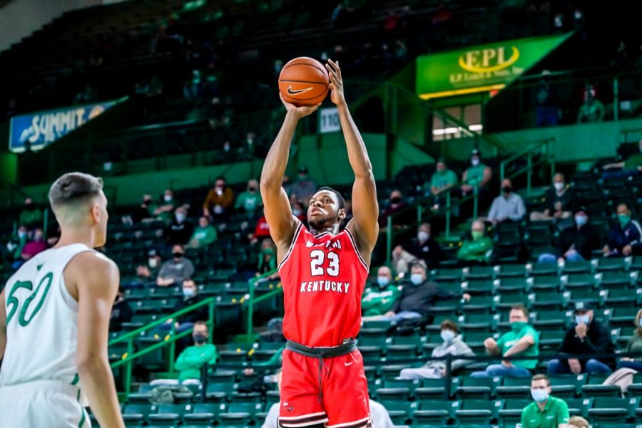 Junior Charles Bassey (23) attempting a shot against Marshall on Jan. 17, 2021.