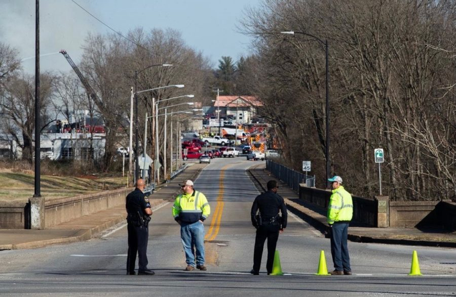 Part of River Street was closed on Monday, Jan. 4 as a large structure fire raged at Eagles Furniture Manufacturing in Bowling Green.