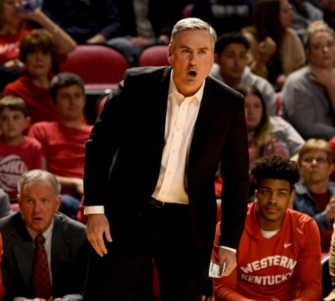 WKU's head coach Rick Stansbury yells during the Charlotte v WKU basketball game on Feb 22, 2020 in Diddle Arena. The Hilltoppers were defeated 72-20.