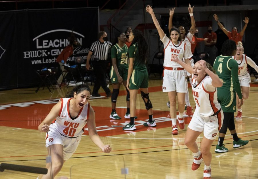 Lady Topper Meral Abdelgawad (40) celebrates her game winning shot against the Charlotte 49ers in WKU's first ever triple overtime with a final score of 100-99 on Jan. 29, 2021.