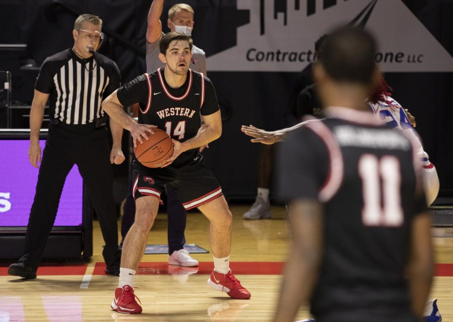 WKU Hilltopper junior guard Luke Frampton (14) prepares to pass the ball during the game against the LA Tech Bulldogs on Jan. 9, 2021 in E.A. Diddle Arena.