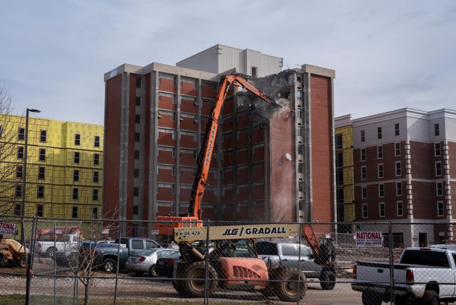 The demolition of Barnes-Campbell Hall began at 9 a.m. on Wednesday, Jan. 6, as the First Year Village project nears completion. The destruction is expected to take 90 days.