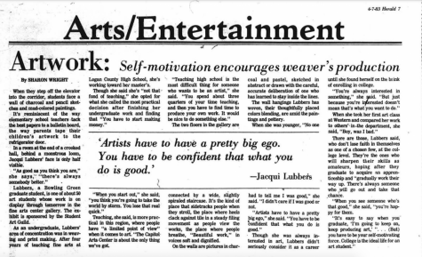 An article printed in the April 7, 1983 edition of the College Heights Herald in which Lubbers talks about her passion for art. (Source)