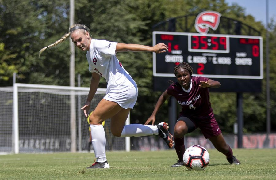 WKU freshman Ansley Cate (20) looks to control the ball against the Alabama A&M Bulldogs at the WKU Soccer Complex on Sunday Sep. 15, 2019.