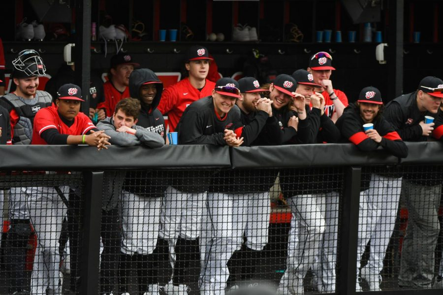 WKU baseball players joke while in the dugout at Nick Denes Field on Feb. 16, 2020. WKU beat Valparaiso 6-2.