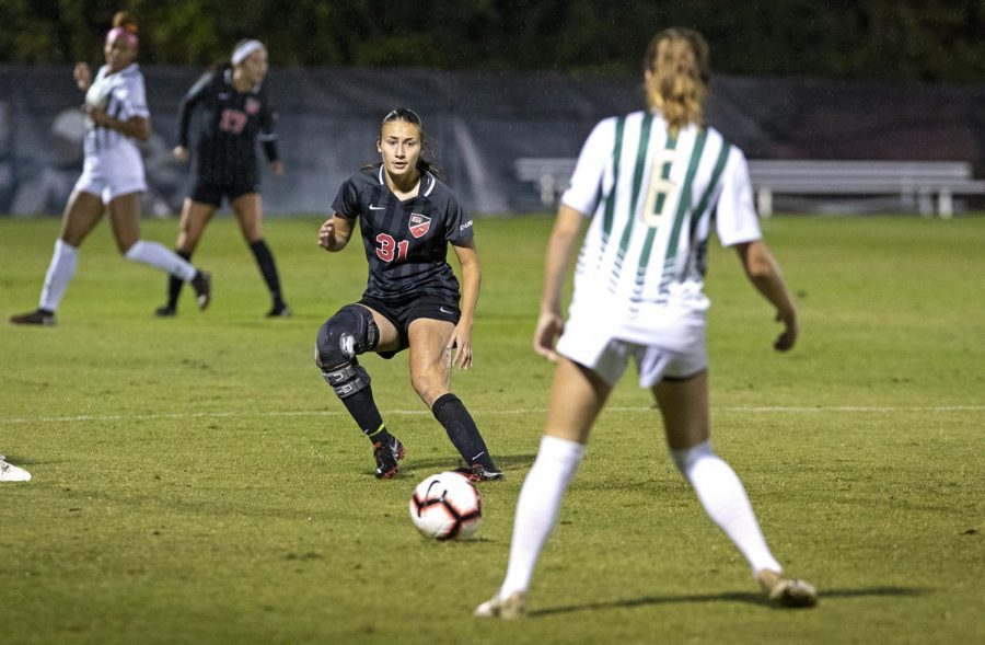WKU junior Aleksandra Kozovic (31) looks to intercept the ball from UAB players during the game at the WKU Soccer Complex on Friday, Aug 26, 2019.