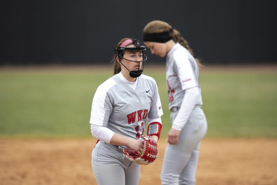 WKU pitcher Kelsey Aikey steps on to the mound to warm up for bottom of the 5th inning. The Hilltoppers defeated the Phoenix 3-0 to take 3rd place in the Hilltopper Classic February 23, 2019. Aikey earned the complete game shutout win in the circle while matching her career high 13 strikeouts.