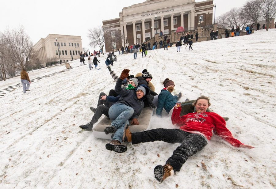 Bowling Green woke up to snow and ice on Monday, Feb. 15, with the weather coming as part of a larger system that swept the Southern United States over the weekend. WKU cancelled both in-person and virtual classes, and students of WKU celebrated in the snow.