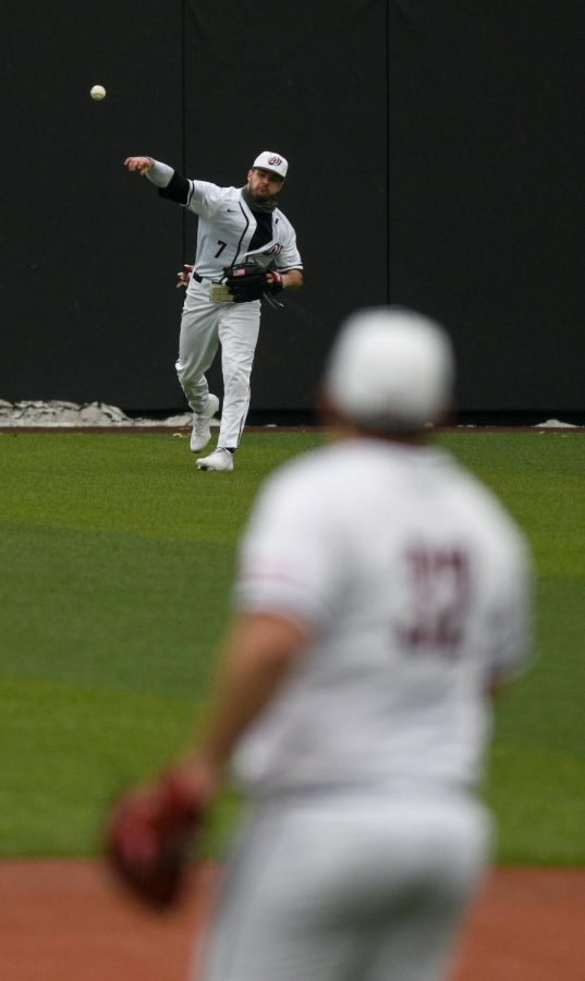 WKU outfielder Ray Zuberer III (7) throws the ball back infield after catching a hit at the baseball game at Nick Denes Field on Feb. 27, 2021. WKU lost 11-3 in the final game of the series.