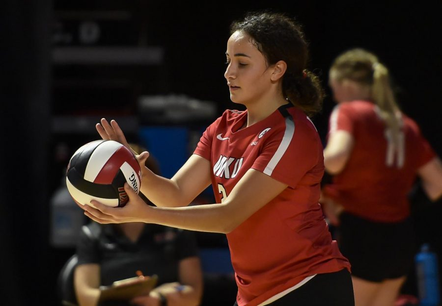 WKU senior Nadia Dieudonne preparing for a serve against Saint Louis on Jan. 31, 2021. The Lady Topper picked up her seventh career C-USA Setter of the Week Award on Feb. 2, 2021.