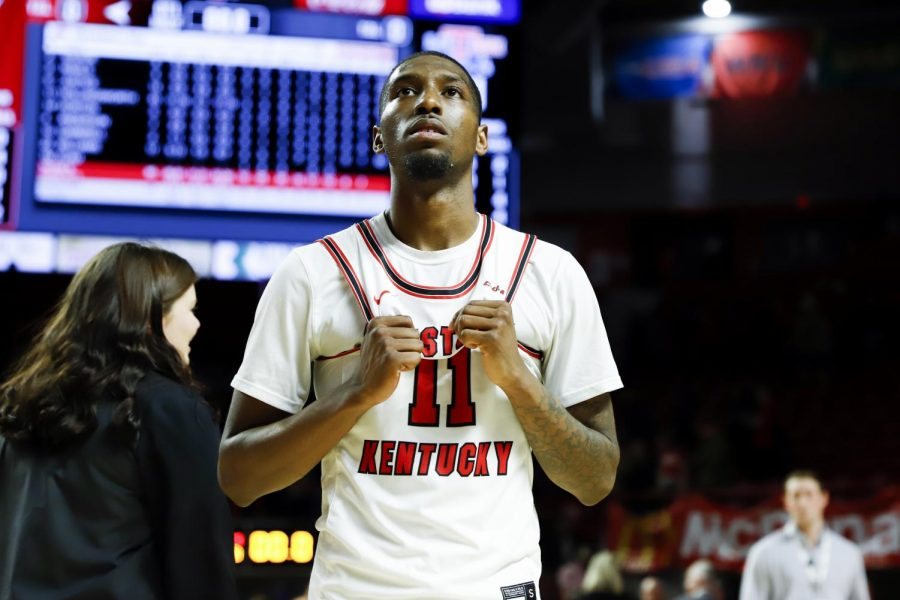 WKU+junior+guard+Taveion+Hollingsworth+%2811%29+looks+on+after+the+basketball+game+against+Louisiana+Tech+on+senior+night+at+E.A.+Diddle+Arena+on+February+27%2C+2019.